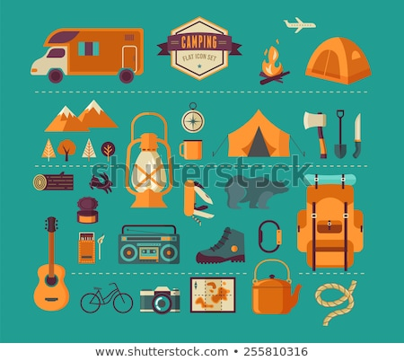 Tourist equipments infographics with trailer Stock photo © studioworkstock