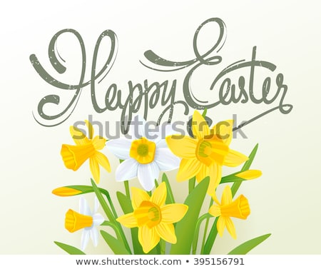 Happy easter text greeting card. Season spring green grass, colored eggs and flowers Stock photo © orensila