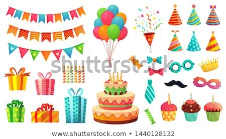 Stock fotó: Születésnap · szett · szalagok · léggömbök · sapkák · buli