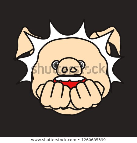 Bite fist. Open mouth and fist. Vector illustration Stock photo © MaryValery
