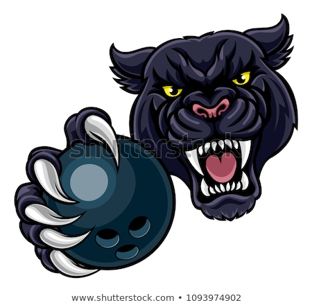 black panther holding bowling ball mascot stock photo © krisdog
