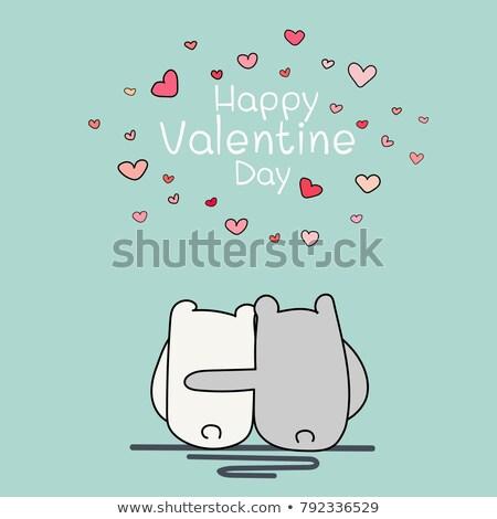 Valentine gün kart iki sevimli ayı Stok fotoğraf © Oney_Why