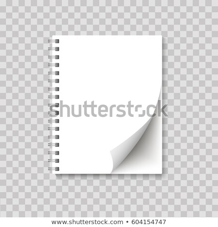 Realistic spiral notepad blank with cornered sheet of paper mock up on transparent background. Vecto Stock photo © olehsvetiukha