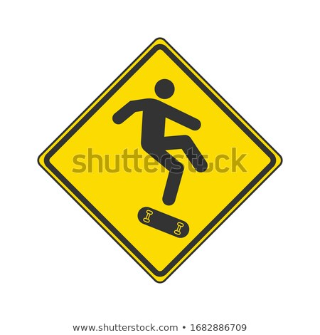 Attention skateboard prudence skateboard interdit bord Photo stock © popaukropa