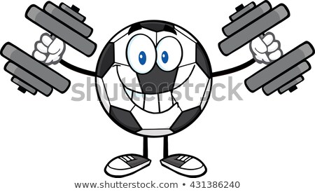 Smiling Soccer Ball Cartoon Mascot Character Working Out With Dumbbells Stock photo © hittoon