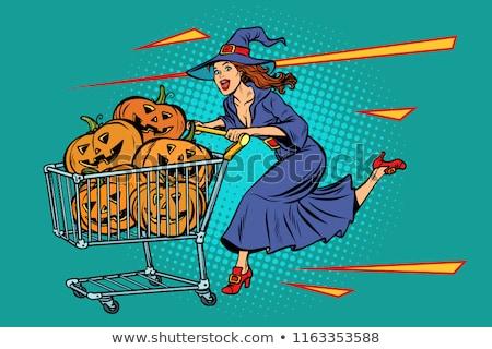 ハロウィン 魔女 カボチャ ショッピングカート 販売 ポップアート ストックフォト © studiostoks