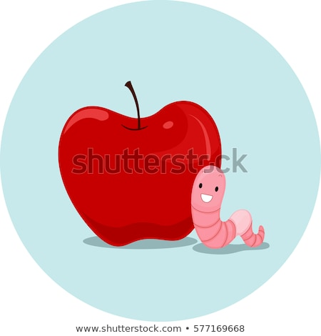 Apfel Wurm Illustration Regenwurm Bedeutung Wort Stock foto © lenm