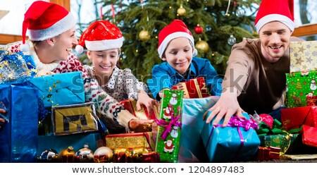 gyerekek · ajándékok · karácsony · kettő · boldog · tart - stock fotó © kzenon