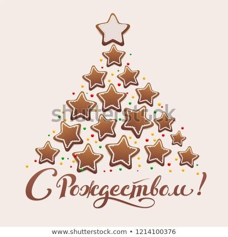 陽気な · クリスマス · 文字 · 翻訳 · ロシア · 孤立した - ストックフォト © orensila