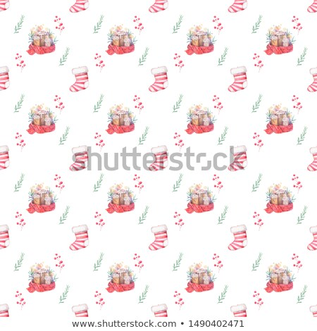 christmas colorfull socks with white fur and spruce branches watercolor illustration isolated stock photo © natalia_1947