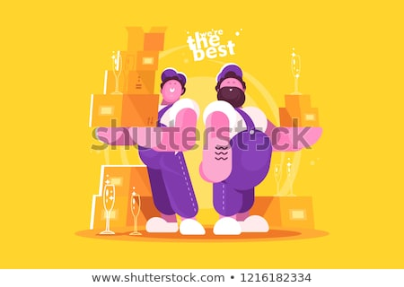 couple loaders movers team with cardboard boxes stock photo © jossdiim