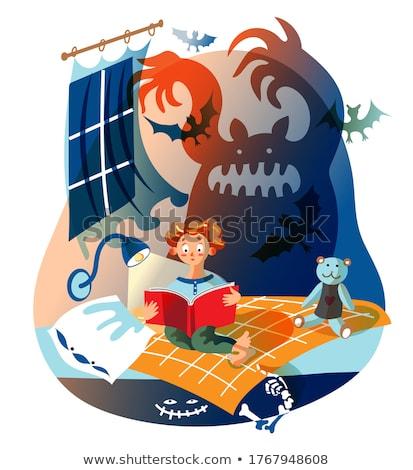 Assustado desenho animado horror ilustração olhando livro Foto stock © cthoman