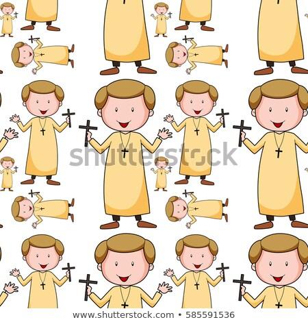Naadloos priester illustratie glimlach gelukkig achtergrond Stockfoto © colematt