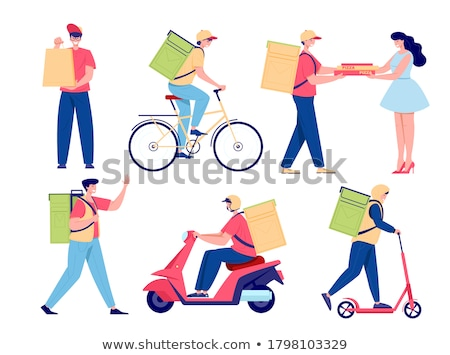 Woman taking fast food parcel from delivery man Stock photo © Kzenon