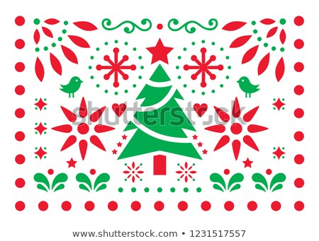 christmas vector design   mexican folk art pattern xmas red and green greeting card with christmas stock photo © redkoala