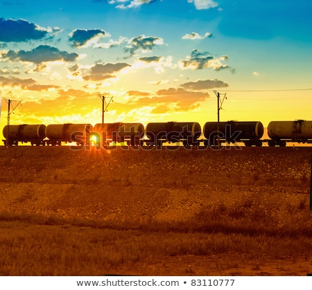 Train with oil tanks moving. Stock photo © EvgenyBashta
