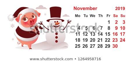 2019 year calendar november month pig makes snowman Stock photo © orensila