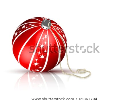 Christmas Balls with Various Snowflake Designs and Silver String Stock photo © cidepix