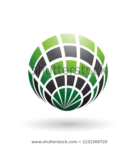 Verde preto concha como ícone vetor Foto stock © cidepix