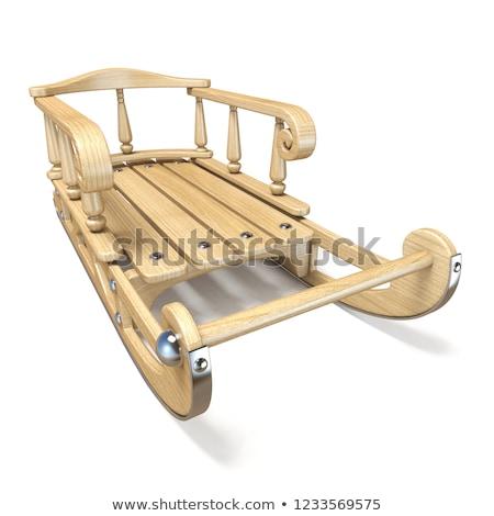 Fából készült díszített szánkó elöl kilátás 3D Stock fotó © djmilic