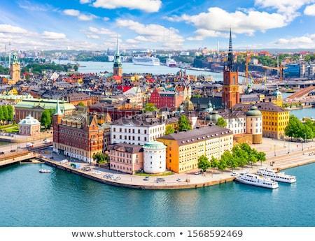 Sziluett Stockholm Svédország óváros Balti-tenger víz Stock fotó © neirfy