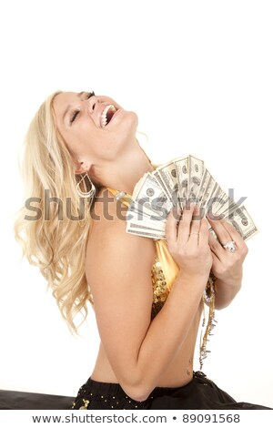 woman holding paper with greedy emotion stock photo © ra2studio