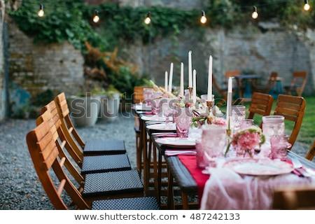 glas · eettafel · stoelen · drie · metaal · voedsel - stockfoto © ruslanshramko
