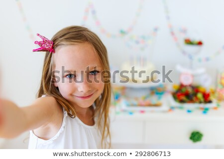 happy kids taking selfie on birthday party Stock photo © dolgachov