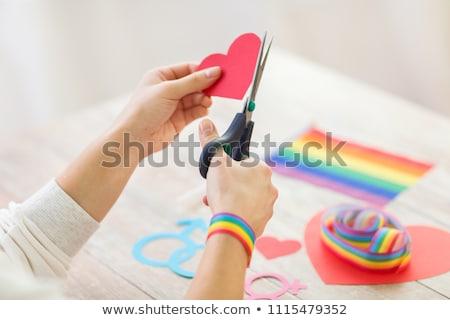 рук · гей · осведомленность · лента · ножницы - Сток-фото © dolgachov