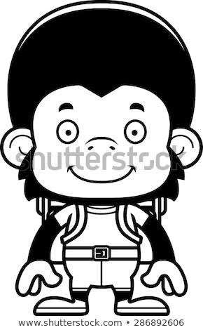 Karikatür gülen uzun yürüyüşe çıkan kimse şempanze grafik Stok fotoğraf © cthoman