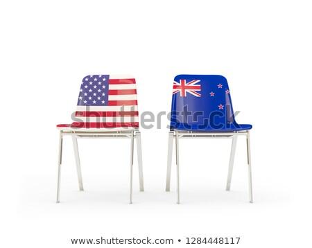 два стульев флагами Новая Зеландия изолированный белый Сток-фото © MikhailMishchenko