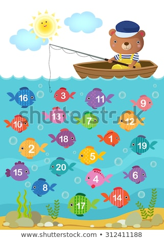 Stock photo: Math counting fish worksheet