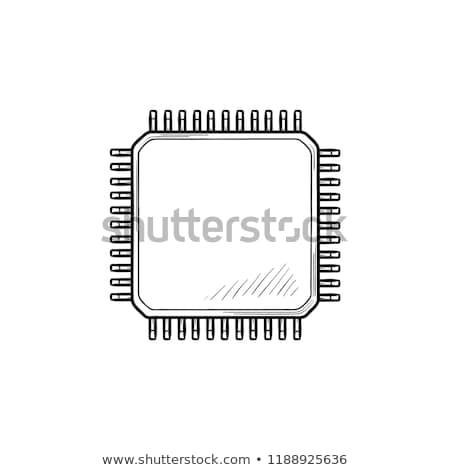circuit · board · lijn · icon · vector · geïsoleerd · witte - stockfoto © rastudio