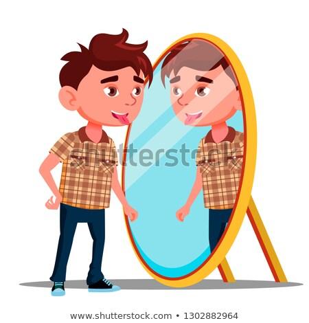 Menino língua reflexão espelho vetor isolado Foto stock © pikepicture