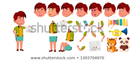 asian boy kindergarten kid vector animation creation set face emotions gestures playful positive stock photo © pikepicture