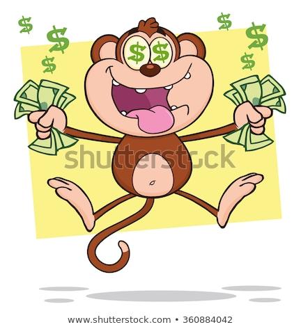 Greedy Monkey Cartoon Character Jumping With Cash Money and Dollar Eyes Stock photo © hittoon