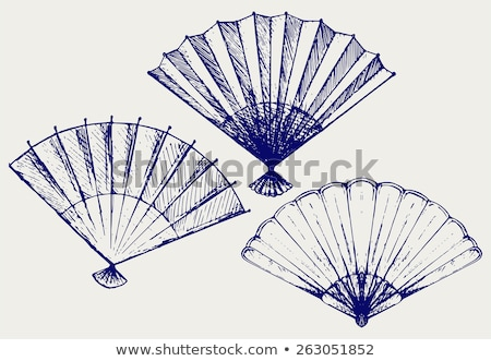 Sketch of a paper fan. Vector illustration Stock photo © Arkadivna