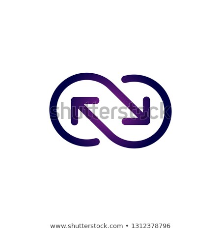 Vector icon of infinite sign made out of two arrows. Syncing or recycling logo. Vector illustration  stock photo © kyryloff
