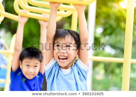 Stock fotó: Gyerekek · játszik · majom · rácsok · illusztráció · virágok