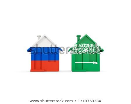 Twee huizen vlaggen Rusland Saoedi-Arabië geïsoleerd Stockfoto © MikhailMishchenko
