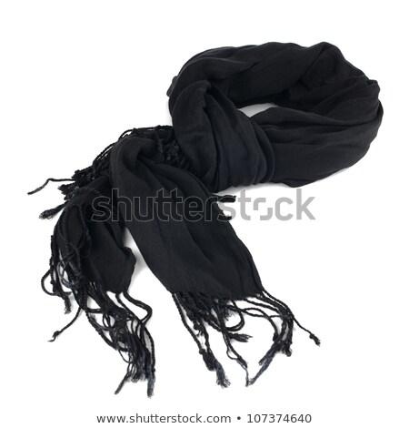 Foto stock: De · punto · negro · bufanda · textura · fondo · tela