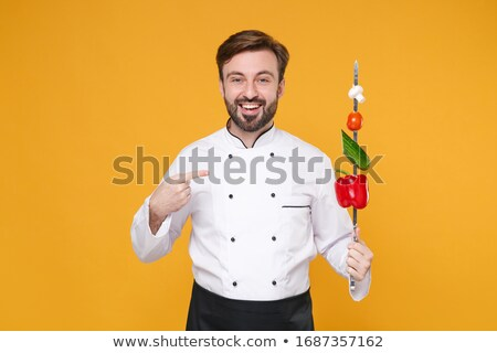 Vrolijk chef kok uniform paprika Stockfoto © deandrobot