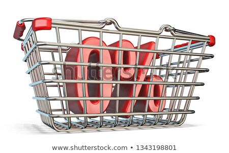 steel shopping basket 0 percent sign 3d stock photo © djmilic