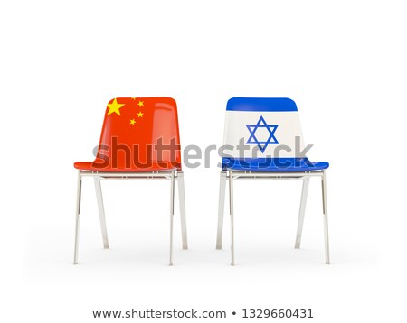 Dwa krzesła flagi Chiny Izrael odizolowany Zdjęcia stock © MikhailMishchenko
