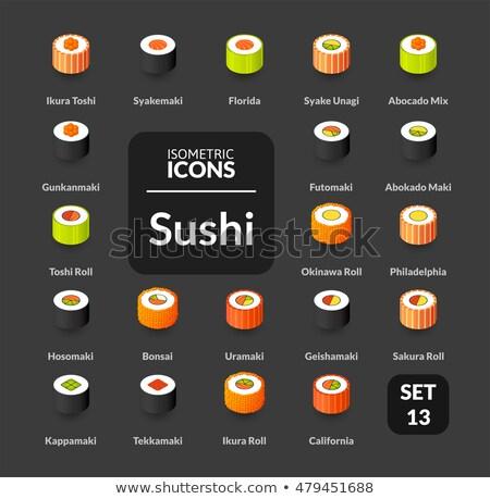 kitchen color outline isometric icons set stock photo © netkov1