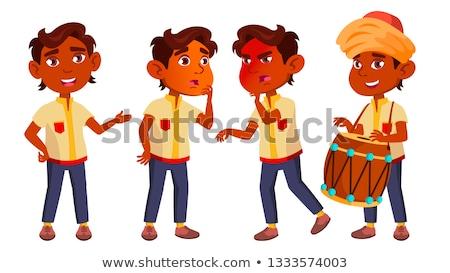 indian boy kindergarten kid poses set vector little child having fun motherhood for advertisemen stock photo © pikepicture