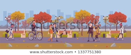 autumn park fall season scenery and walking people stock photo © robuart