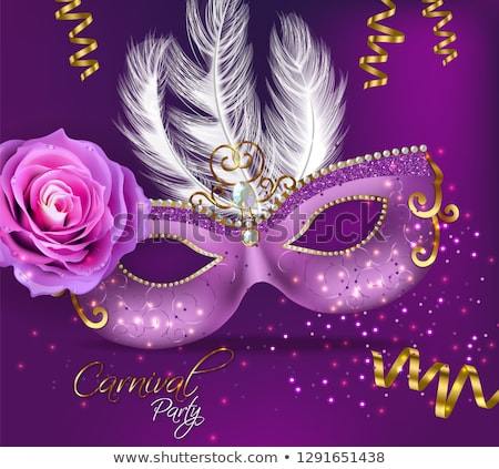 Purple ornamented mask card Vector realistic. Stylish Masquerade Party. Mardi Gras card invitation.  Stock photo © frimufilms