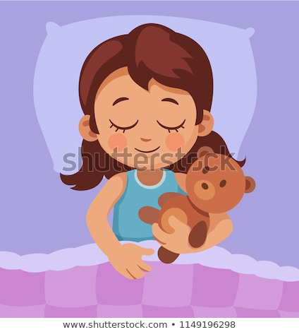 Napping Girl, Sleeping Child Vector Cartoon Character Сток-фото © pikepicture