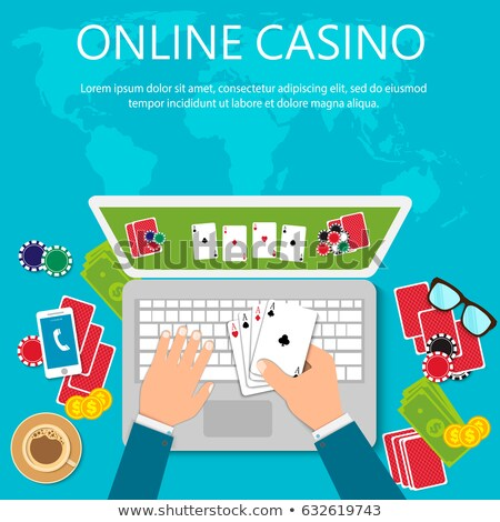 Stockfoto: Online poker concept vector illustration.